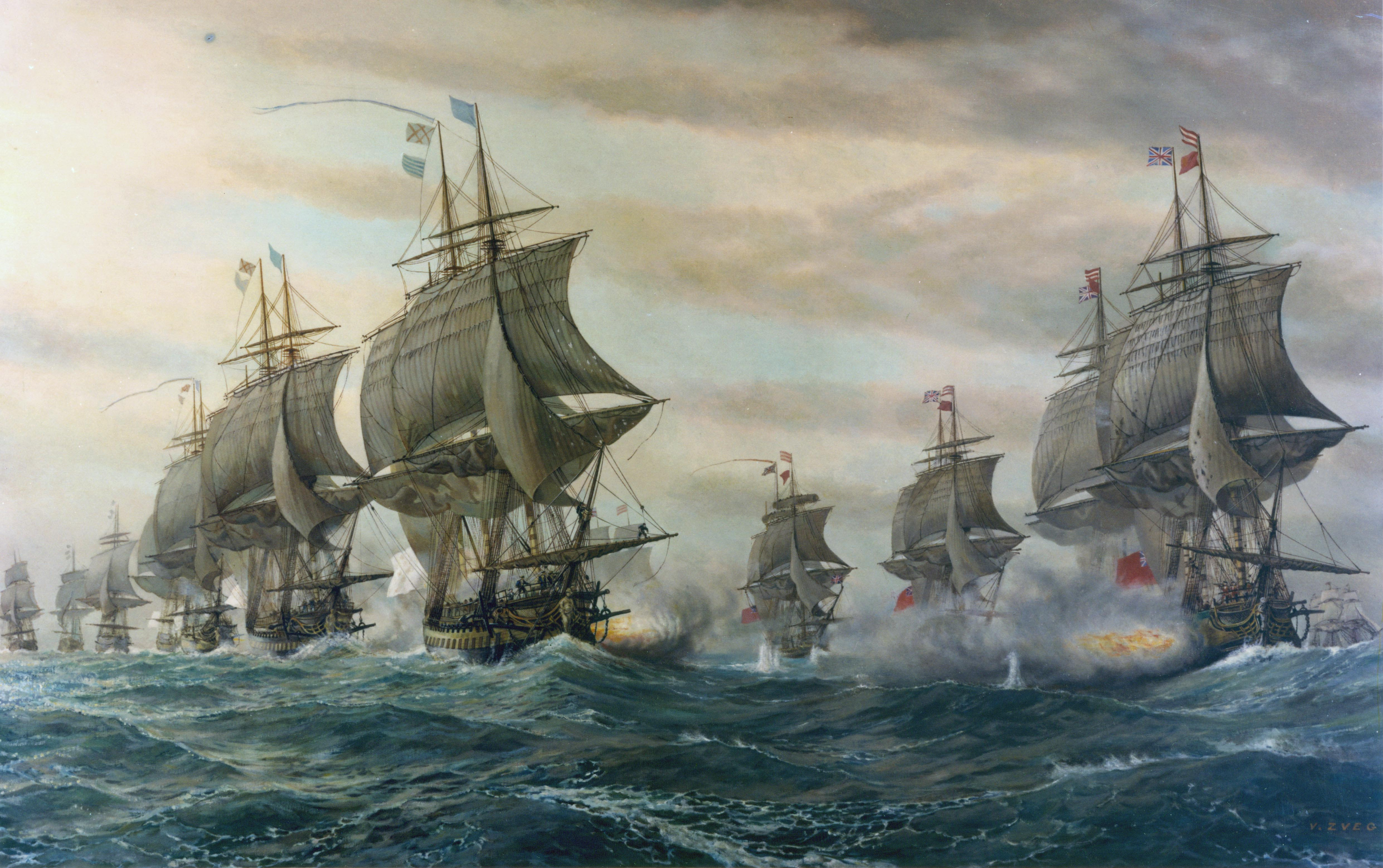 V. Zveg: Depiction of the Second Battle of the Virginia Capes