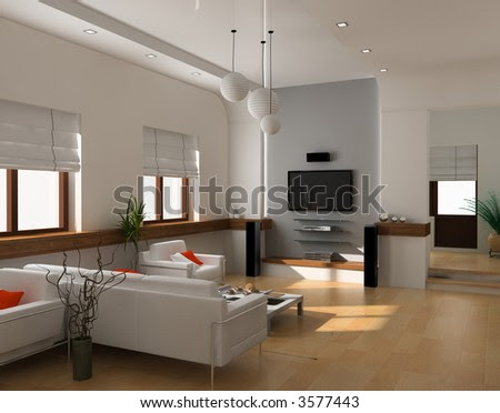 Home Interior Design on Modern Interior Design  Private Apartment 3d Rendering  Stock Photo