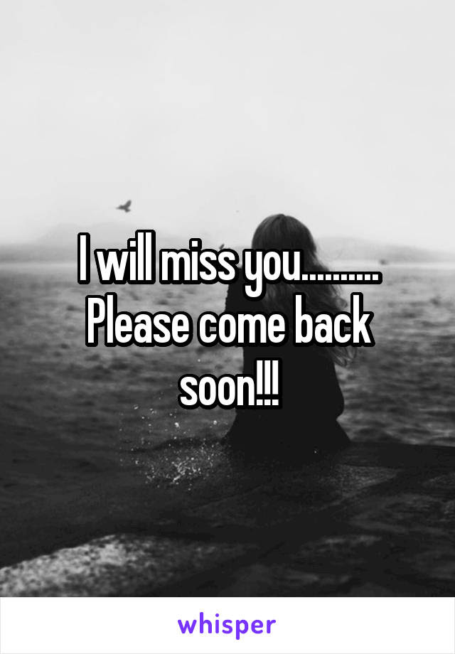 I Will Miss You Please Come Back Soon