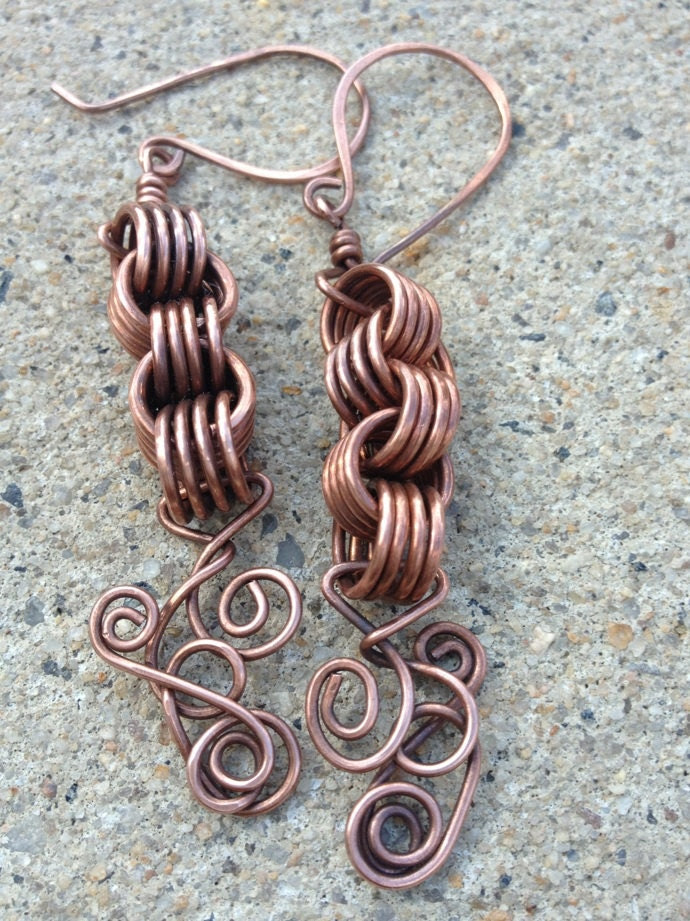 Copper knotted dangle earrings