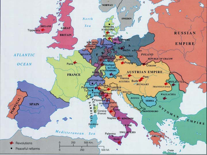 Map Of Europe 1850