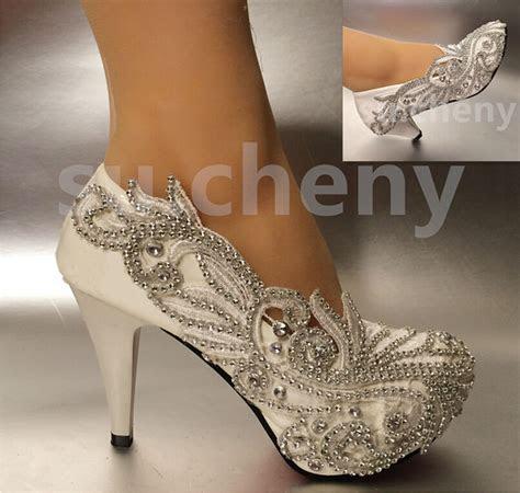 """2?/ 3"""" / 4"""" Lace white ivory crystal Wedding shoes Bridal"""