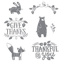 Thankful Forest Friends Wood-Mount Stamp Set
