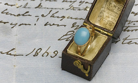 The turquoise and gold ring that belonged to romantic novelist Jane Austen