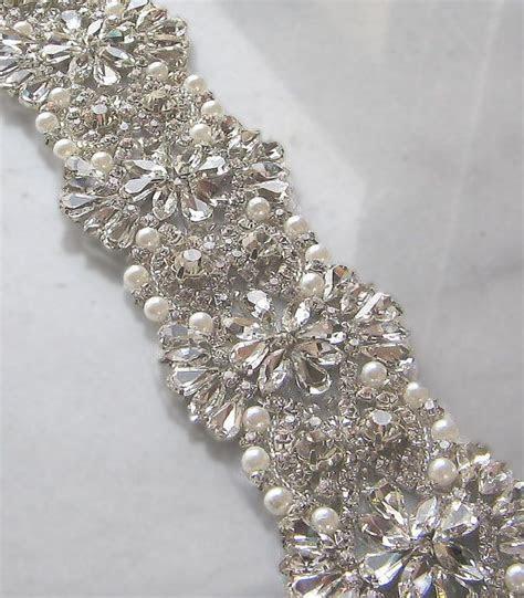 Crystal Rhinestone Trim with Pearls, Swarovski, Beaded