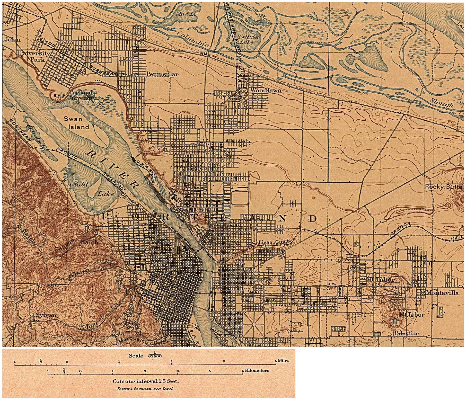 Topographic Map Of Portland Oregon   Campus Map