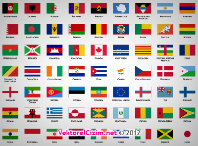 Vektörel çizim ülke Bayrakları