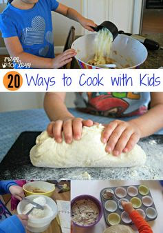 20 Ways to Cook With Kids - These kid friendly recipes will get even the pickiest eater cooking and tasting. Cooking with children is a great way to bond and create lasting memories!