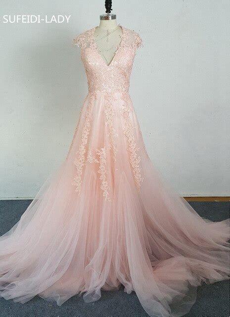 Vestidos De Novia Deep V Cap Sleeves Pink Wedding Dresses