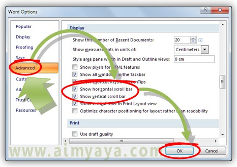 Gambar: Cara menyembunyikan dan menampilkan scroll bar di microsoft word
