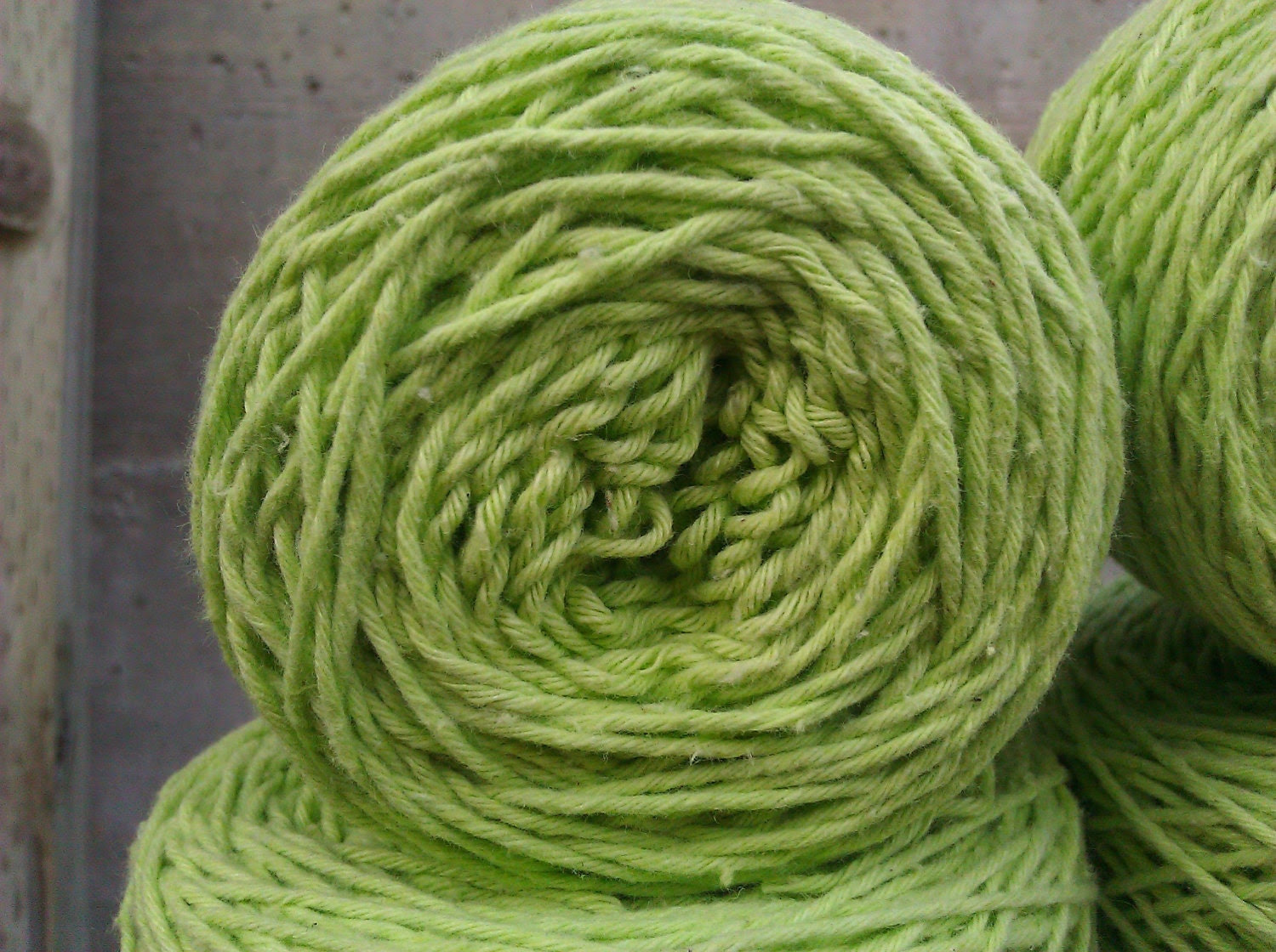Lime Green Reclaimed Baby/Sock weight Cotton Yarn - 324 yards - KnotYourNeedles