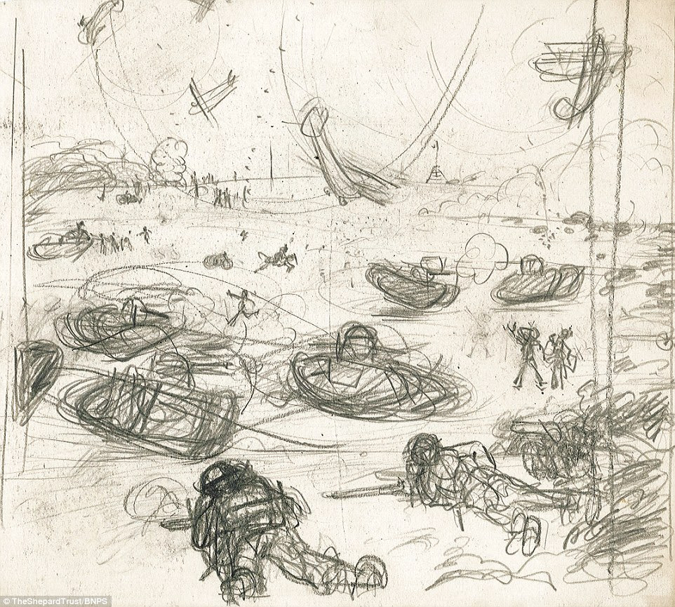 At war: This action-packed scene shows tanks, planes and infantry clashing at the Somme in 1916. Shepard did not come to illustrate children's classics Winne the Pooh and The Wind in the Willows for years after the war