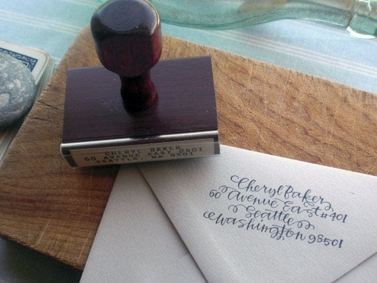 return address stamp - curls -  custom calligraphy