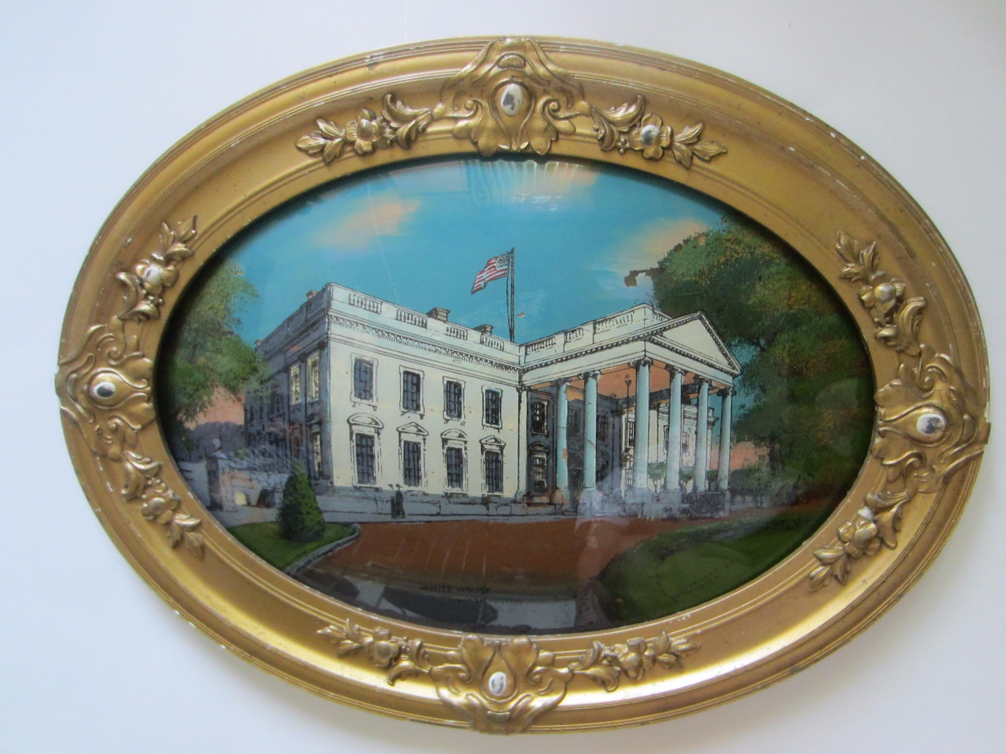 The White House Washington Dc Antique Oval Art Convex Reverse Glass
