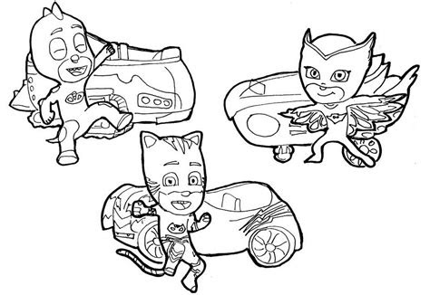 catboy owlette  gekko coloring pages pj masks printable