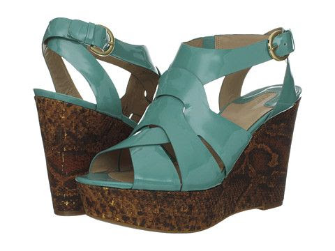 Joan and David Isleen Patent Wedge Sandals