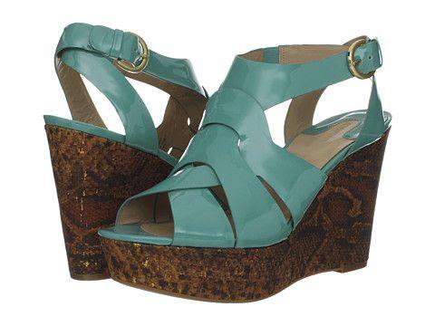 Joan and David Isleen Patent Wedge Sandals