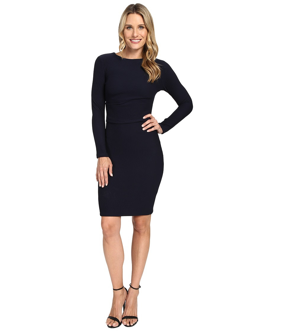 KUT from the Kloth - Long Sleeve Pleated Waist Dress (Midnight) Women's Dress