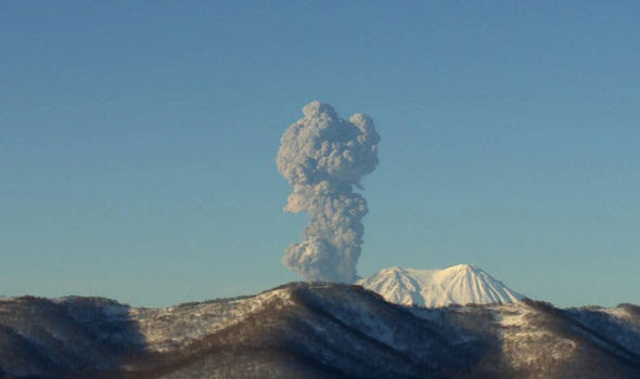 The massive ash cloud bursting from the Zhuapanovsky yesterday