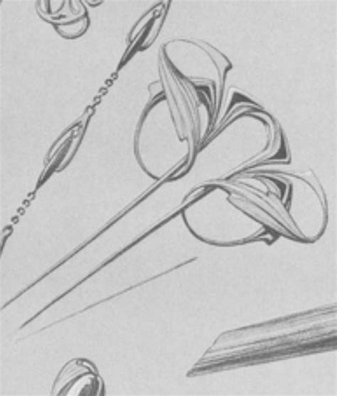 art nouveau hair pin drawing  maurice dufrene metals