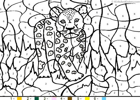 animalcolorbynumber color  number leopardcub coloring