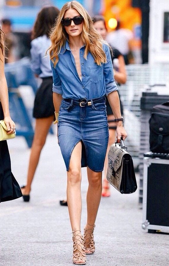 Le Fashion Blog Olivia Palermo Street Style Denim On Denim Skirt Oversized Sunglasses Chambray Shirt Top Handle Bag Nude Lace Up Heels