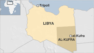 Map of Libyan southeast city of Al-Kufra struck by ethnic clashes as a by-product of the imperialist war against the oil-rich North African state. Gaddafi was assassinated by US-allied rebels. by Pan-African News Wire File Photos