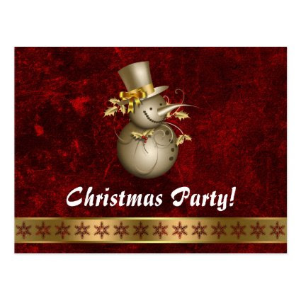 Christmas party Snowman invitation Post Cards
