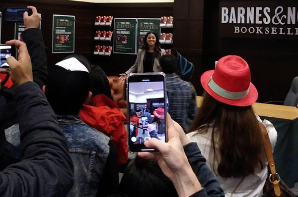Gina Rodriguez greets the fans who showed up to her signing inside Barnes & Noble bookstore at The Grove in Los Angeles...on February 2, 2019.