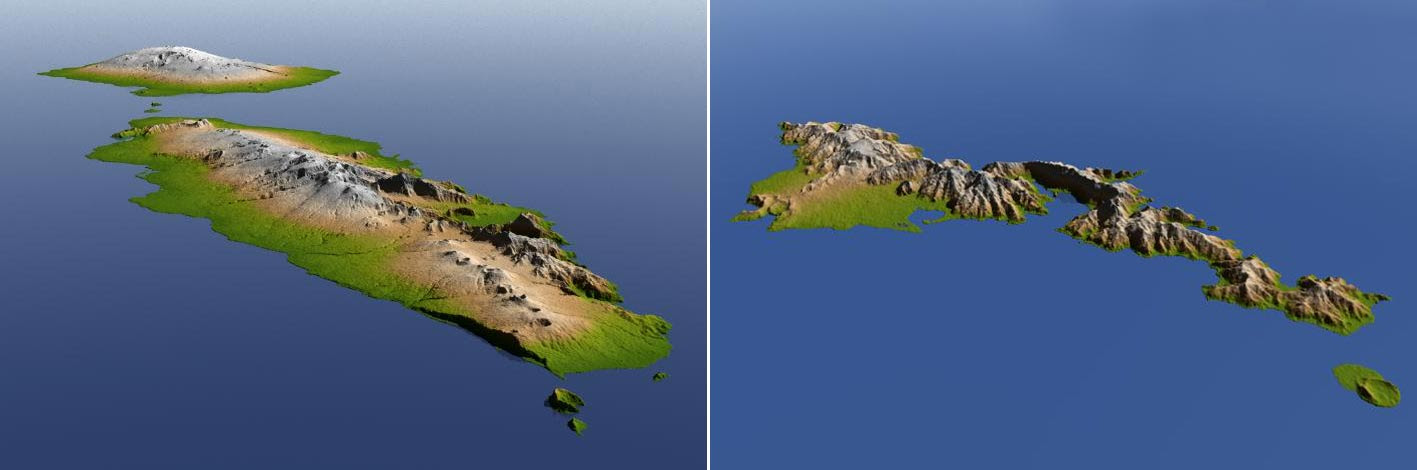 Shuttle Radar Topography Mission image of the Independent State of Samoa (left) and American Samoa (right)