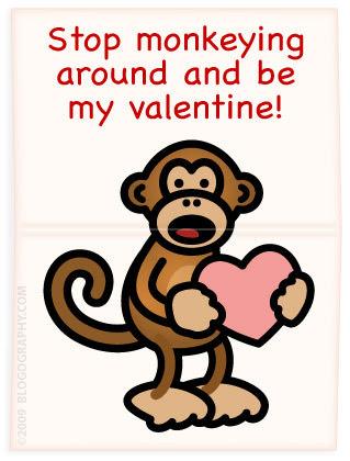 Happy Valentines Day Monkey. Bad Monkey holding a Valentine
