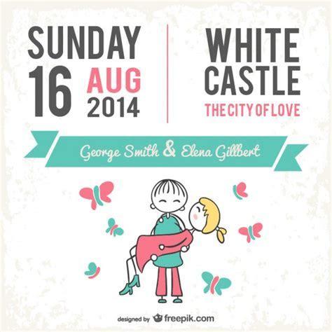 Wedding card cute cartoon design Vector   Free Download