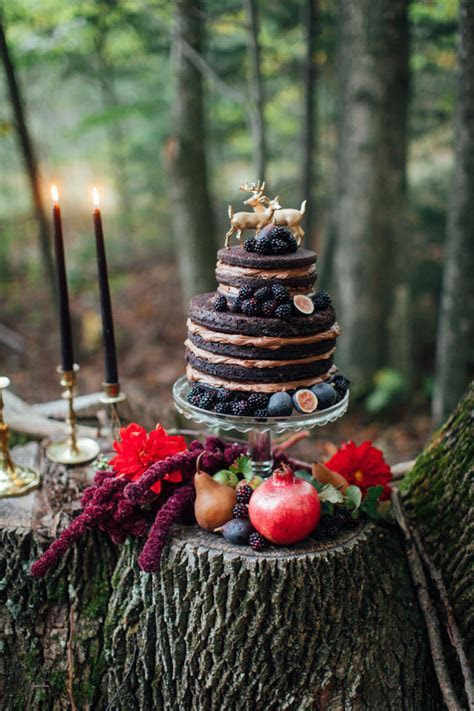 Dark Autumn Forest Wedding Inspiration   Artfully Wed