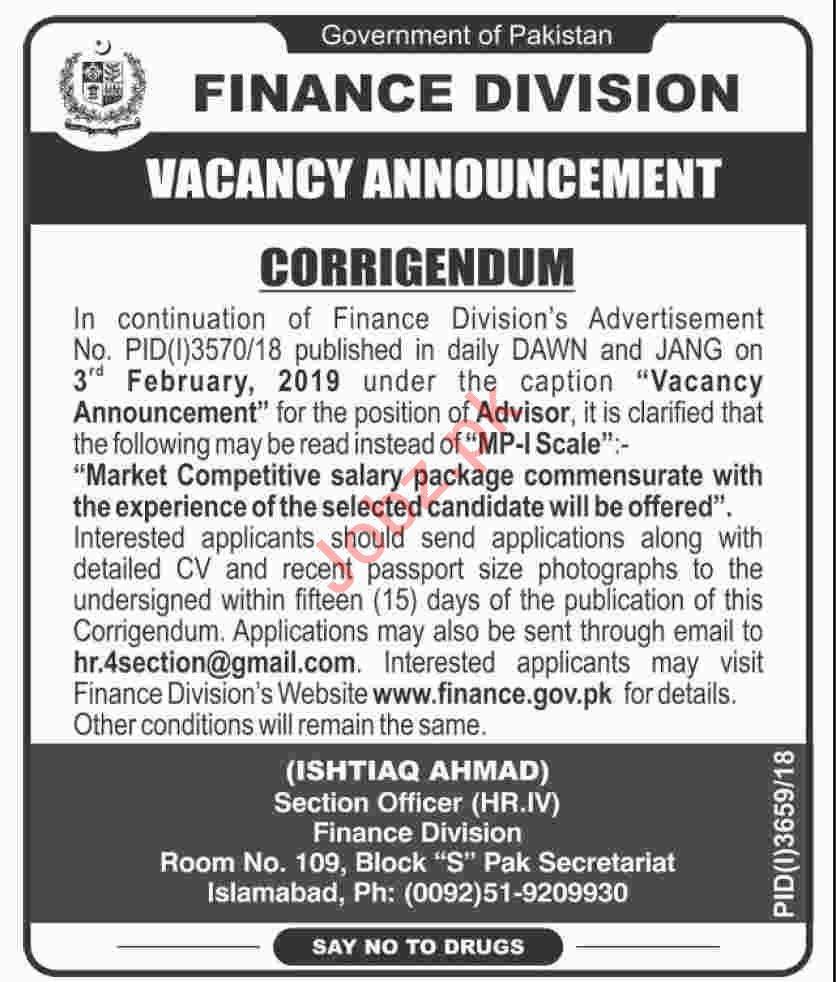 Finance Division Islamabad Jobs 2019 for Advisor