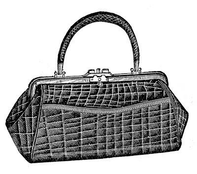 Antique Image - Ladies Alligator Purse Bag Handbag