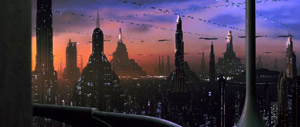 The STAR WARS world of Coruscant...with rows of speeder traffic filling the skies above the planet-wide city.