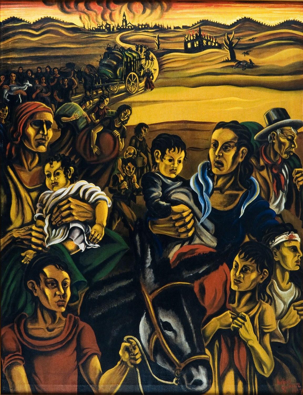 Εργο του κορυφαίου Ισπανού επαναστάτη ζωγράφου Helios Gomez με θέμα τους πρόσφυγες της Δημοκρατικής Ισπανίας.