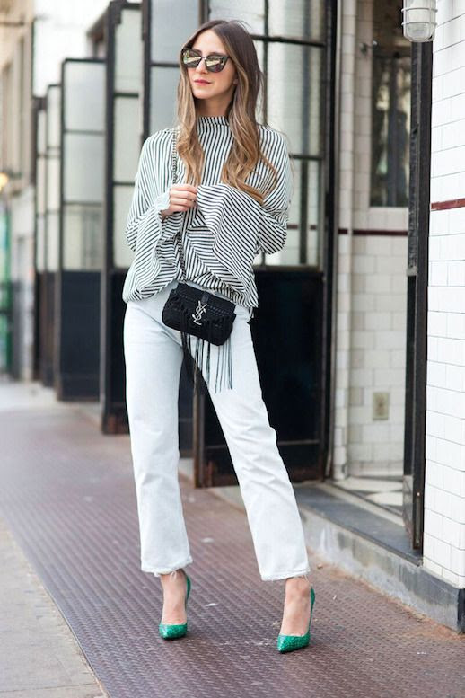 Le Fashion Blog Blogger Style Mirrored Sunglasses Striped Top With Bell Sleeves Mini Saint Laurent Bag Light Wash Denim Green Pumps Via Something Navy