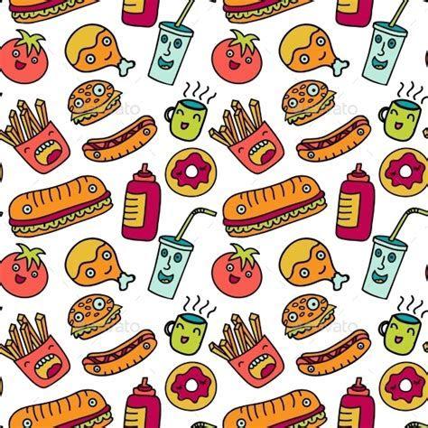 Fast Food Seamless Background. Funny Cartoon by Olga km