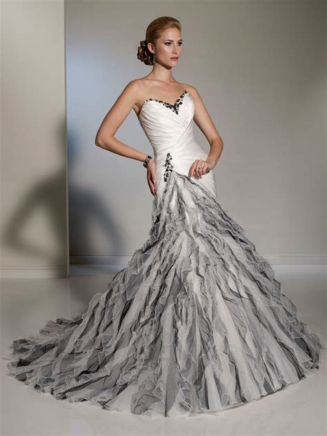 White silver fluted skirt wedding dress.