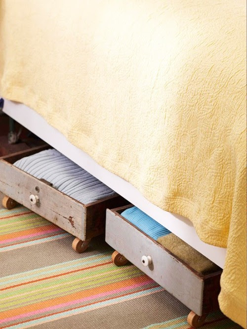 appleinmyheart:  Old drawers with wheels — easy under bed storage