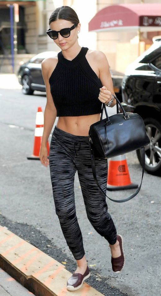 Le Fashion Blog Miranda Kerr Best Looks July 2014 - Celine Sunglasses, Black Knit Ribbed Crop Top, Saint Laurent Classic Duffle, Missoni Print Cuffed Leggings, Burgundy Celine Espadrilles photo Le-Fashion-Blog-Miranda-Kerr-Best-Looks-July-2014-Crop-Top-Missoni-Print-Leggings-Celine-Espadrilles.jpg