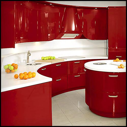Slab Kitchen Cabinet Door In Solid Red Akc