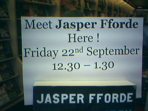 Jasper Fforde sign in Dymocks