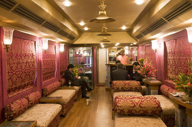 Recreating the opulence of princely travel and gracious hospitality: Lounge bar on board Royal Rajasthan on Wheels