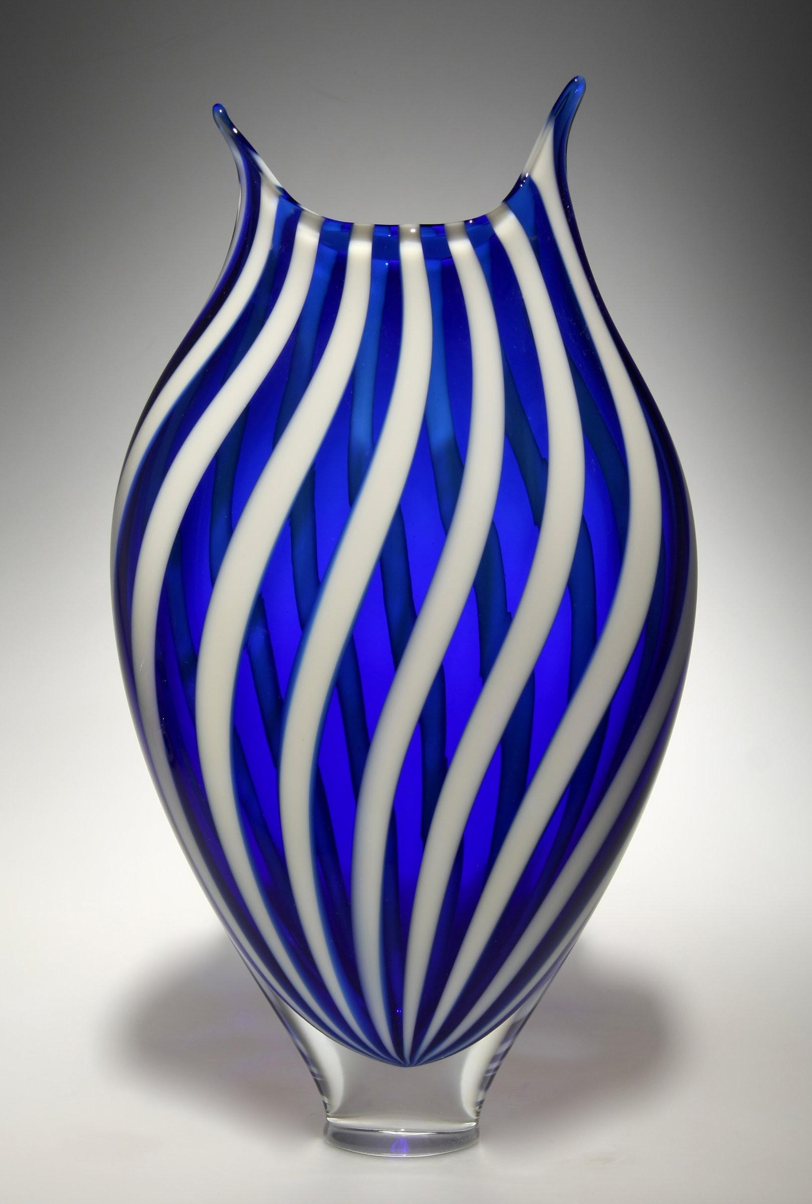 White and Cerulean Foglio by David Patchen (Art Glass ...
