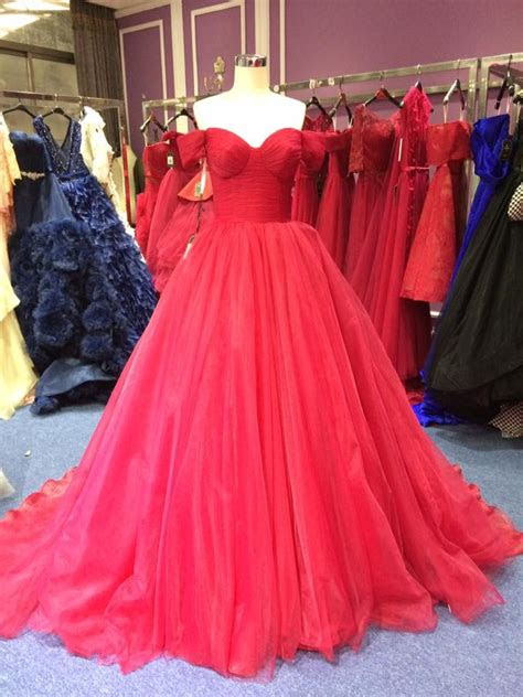 ball gown  shoulder sleeves wine red prom dress
