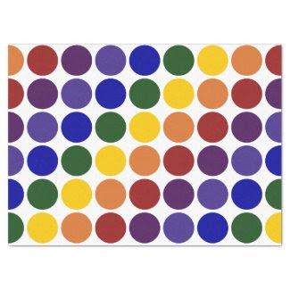"""Rainbow Polka Dots on White Tissue Paper 17"""" X 23"""" Tissue Paper"""