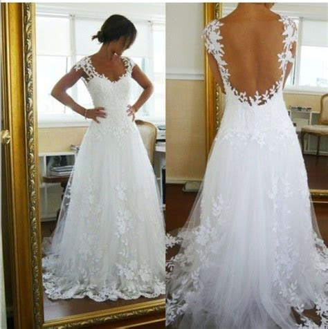 Beach Wedding Dresses White Tulle Backless Sexy Sheer Lace