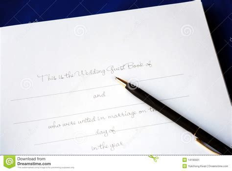 The First Page Of A Wedding Guest Book Stock Image   Image